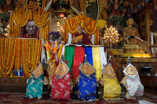 Five dakinis in front of Lama Zopa Rinpoche during long life puja, Kopan Monastery, Nepal, December 29, 2012. Photo by Ven. Roger Kunsang.