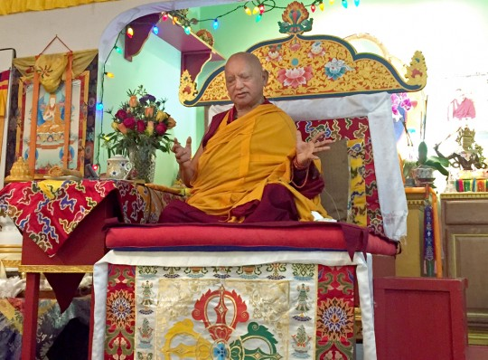 Lama Zopa Rinpoche teaching at Tse Chen Ling in San Francisco, US, October 2015. Photo by Ven. Roger Kunsang.