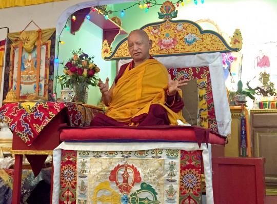 Lama Zopa Rinpoche teaching at Tse Chen Ling in San Francisco, US, October 2015. Photo by Ven. Roger Kunsang.