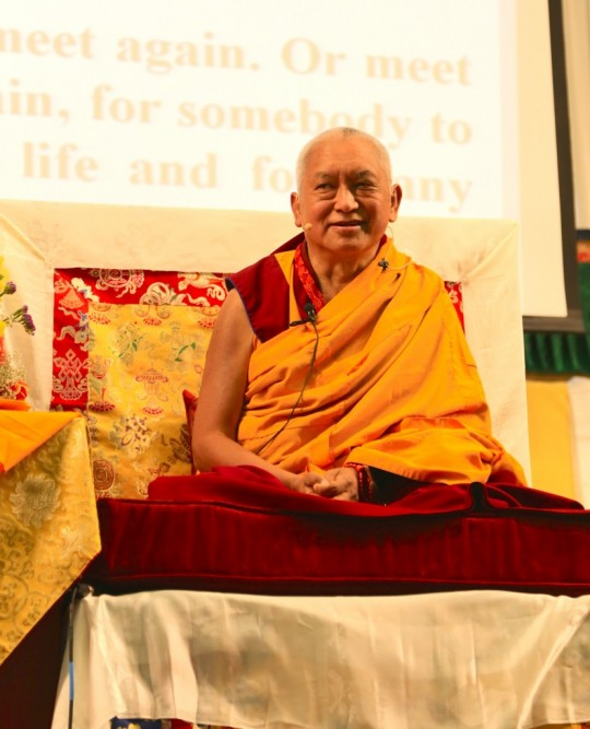 Lama Zopa Rinpoche teaching at the Light of the Path Retreat, May 2014, Black Mountain, NC. Photo by Ven. Photo by Ven. Thubten Kunsang.