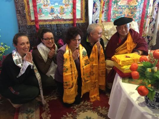 Lama Zopa Rinpoche with Basque students, Kopan Monastery, Nepal, November 2015. Photo by Ven. Roger Kunsang.