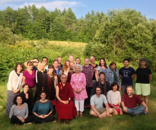 Geshe Konchog Kyab with students of Milarepa Center, Barnet, Vermont, July 2015. Photo courtesy of Milarepa Center.