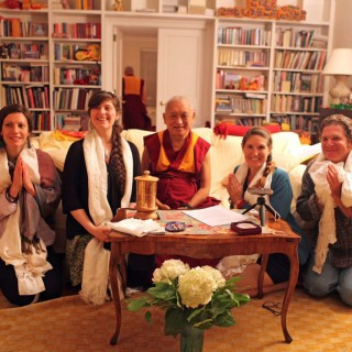 Lama Zopa Rinpoche with Milarepa Center staff, New York City, New York, US, August 2015. Photo courtesy of Milarepa Center.