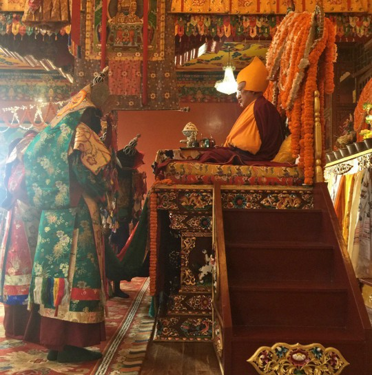 Rinpoche at long life puja, Kopan Monastery, December 2, 2015. Photo by Ven. Roger Kunsang.