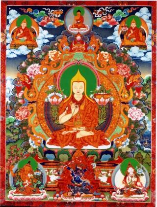 Lama Tsongkhapa (1357–1419) is the founder of the Gelugpa school of Tibetan Buddhism.
