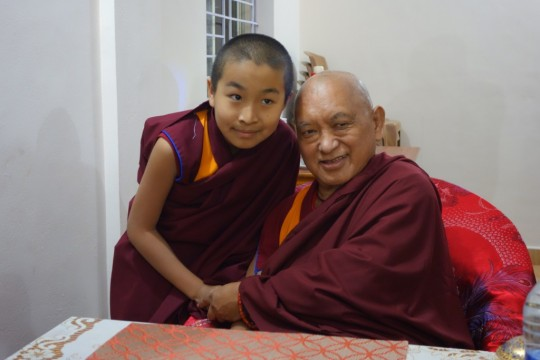 Lama Zopa Rinpoche with the incarnation of one of his teachers, Domo Rinpoche.