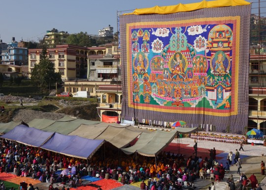 Very large Guru Rinpoche thangka at Kopan Nunnery, Nepal, December 4, 2015. Photo by Ven. Roger Kunsang.