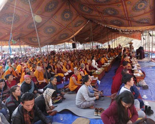Thousands of Kopan monks and nuns as well as local Sherpas, Tibetan and Nepalis attended the event, Kathmandu, Nepal, December 4, 2015. Photo by Ven. Roger Kunsang.