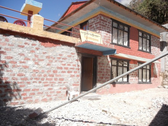 Renovation work on the Lawudo Library.