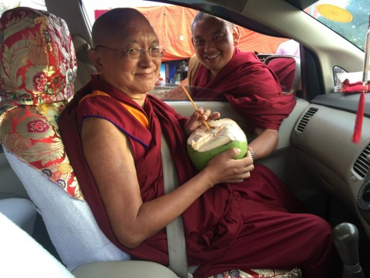 Lama Zopa Rinpoche, South India, December 2015. Photo by Ven. Roger Kunsang.