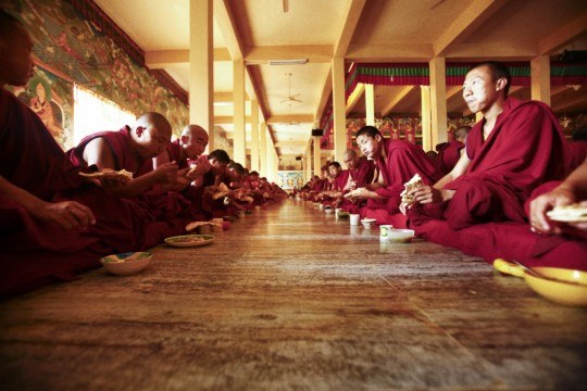 Monks of Sera Je Monastery enjoying a meal provided by the Sera Je Food Fund. Photo by Losan Piatti.