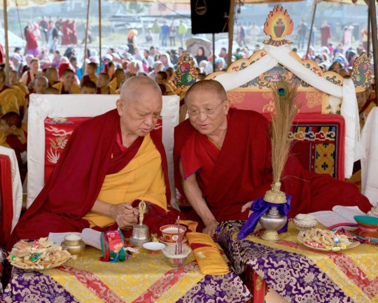 Lama Zopa Rinpoche with his old friends respected Nyingma lama Chokyi Nyima Rinpoche during Guru Rinpoche puja at Kopan Nunnary, Nepal, December 2015. Photo by Bill Kane.
