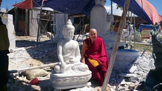 Thubten Gyatso with new marble statues for Thubten Shedrup Ling, August 2015. Photo courtesy of TSL.