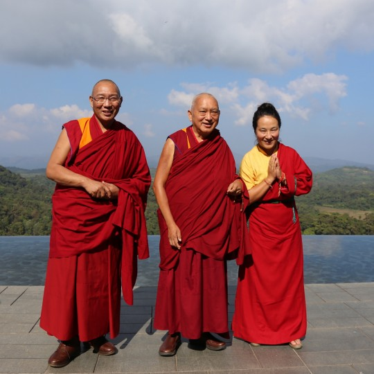 Lama Zopa Rinpoche with Dagri Rinpoche and Khadro-la, South India, December 2015. Photo by Ven. Thubten Kunsang.