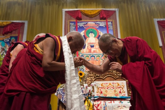 Lama Zopa Rinpoche with His Holiness the Dalai Lama. Italy, 2014. Photo by Matteo Passigato.