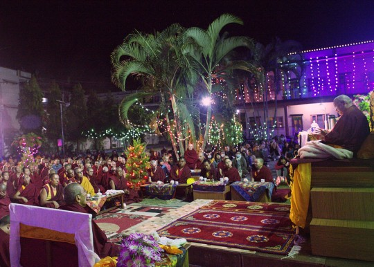 Lama Zopa Rinpoche teaching at Kopan House, Sera Monastery, India, January 1, 2016. Photo by Ven. Lobsang Sherab.