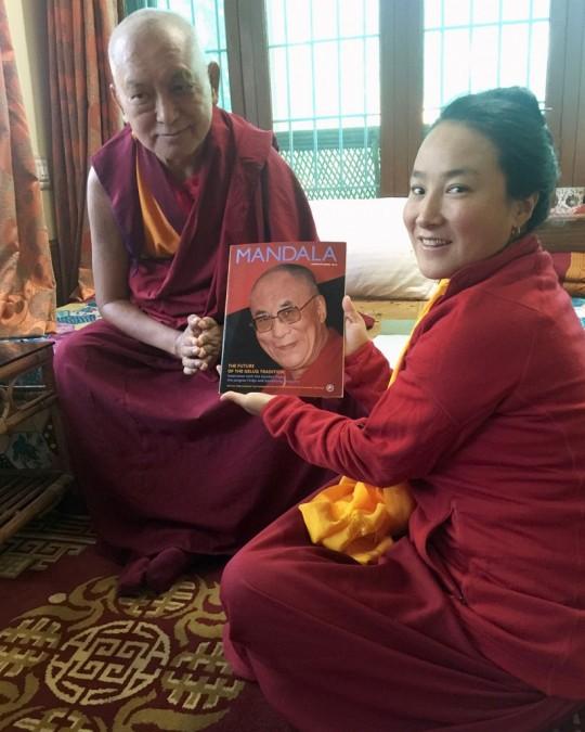 Lama Zopa Rinpoche and Khadro-la with the new issue of Mandala, Osel Labrang, Sera Monastery, India, January 2016. Photo by Ven. Roger Kunsang.