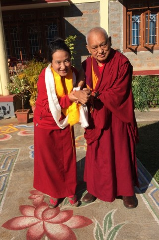 Lama Zopa Rinpoche with Khadro-la (Rangjung Neljorma Khadro Namsel Drönme), South India, January 2016. Photo by Ven. Roger Kunsang.