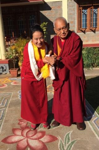 Lama Zopa Rinpoche with Khadro-la (Rangjung Neljorma Khadro Namsel Drönme), South India, January 2016. Photo by Ven. Roger Kunsang.