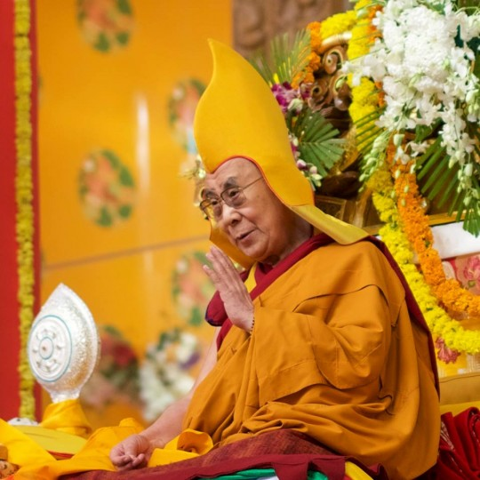 His Holiness during long life puja offered at Tashi Lhungpo Monastery, January 2016. Photo by Bill Kane.