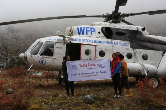 Construction materials were flown to the village of Beding. In this area Yeshe Norbu rebuilt several houses and gave support to hundreds of families.