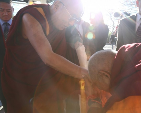 His Holiness the Dalai Lama and Lama Zopa Rinpoche, Blue Mountains, Australia, June 2015. Photo by Ven. Thubten Kunsang.