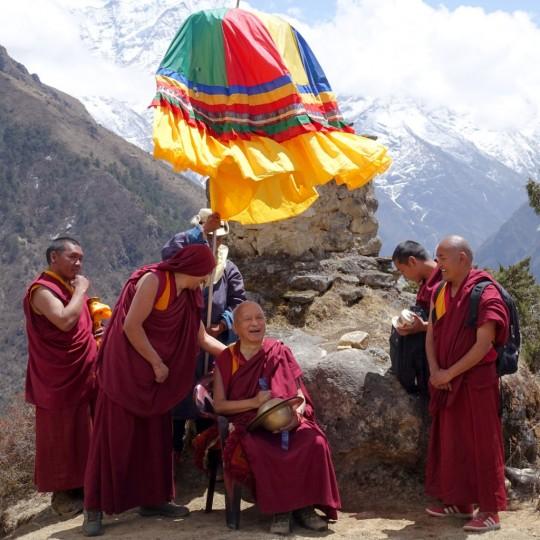 Lama Zopa Rinpoche near Lawudo Retreat Centre, Nepal, April 2015. Photo by Ven. Roger Kunsang.