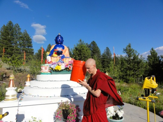 During the animal liberation practice, animals, like worms, are carried around holy objects to help them create merit, Buddha Amitabha Pure Land, Washington State, US, 2015