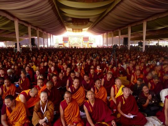 Sangha attendees at Jangchup Lamrim, Tashi Lhunpo Monastery