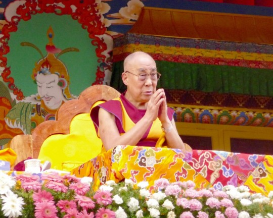 His Holiness the Dalai Lama during the Jangchup Lamrim teachings, Tashi Lhunpo Monastery, India, December 2015. Photo by Cynthia Karena.