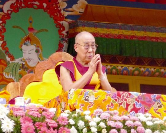 His Holiness the Dalai Lama during the Jangchup Lamrim teachings, Tashi Lhunpo Monastery, India, December 2015. Photo by Cynthia Karena.