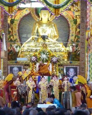 His Holiness with the five dakinis during long life puja