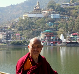 During the last month, Lama Zopa Rinpoche has been in Tso Pema (Rewalsar), India, receiving rare oral transmissions on vinaya (monastic discipline) from a Kagyü abbot at a monastery there. Rinpoche also did some personal retreat, circumambulated the lake regularly, and visited all the amazing holy sites there, including the 110-foot (34-meter) tall Padmasambhava statue that overlooks the lake.  Photo by Ven. Roger Kunsang, February 201