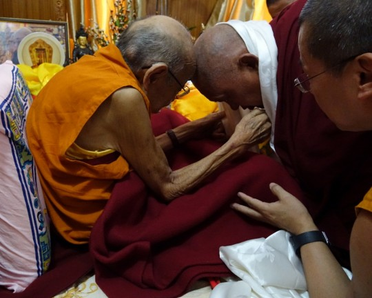 Dhakpa Rinpoche and Lama Zopa Rinpoche, India, December 2015. Photo by Ven. Roger Kunsang.