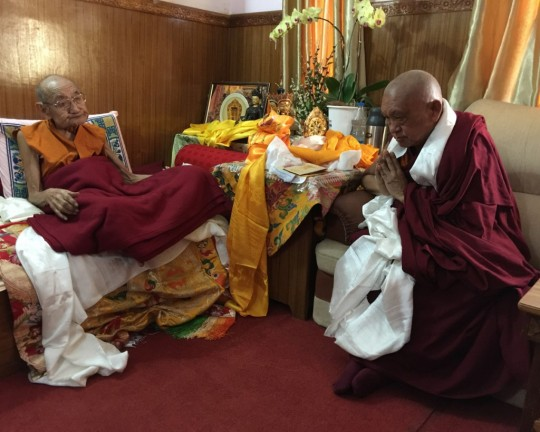 Dhakpa Tulku Rinpoche being visited by Lama Zopa Rinpoche, India, December 2015. Photo by Ven. Roger Kunsang.