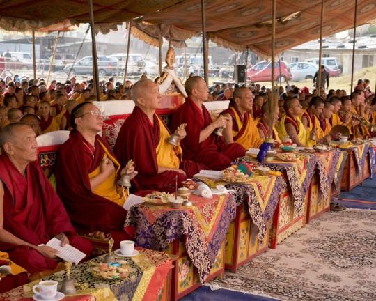 (Left to right) Kontsak Rinpoche, Lama Zopa Rinpoche, Chokyi Nyima Rinpoche and Khen Rinpoche Geshe Chonyi during a Guru Rinpoche puja at Kopan Nunnary, Nepal, December 2015. Photo by Bill Kane.