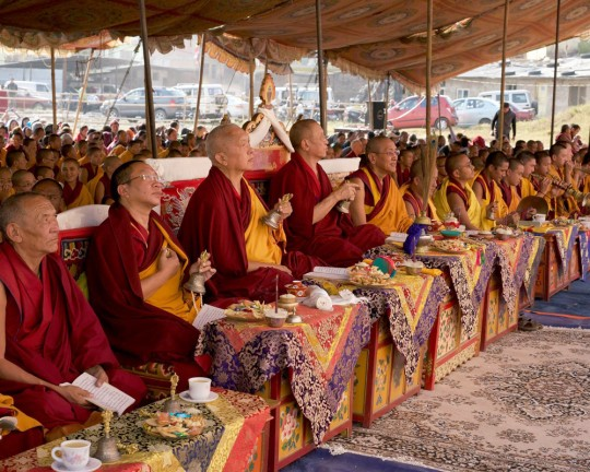 (Left to right) Kontsak Rinpoche, Lama Zopa Rinpoche, Chokyi Nyima Rinpoche and Khen Rinpoche Geshe Chonyi during a Guru Rinpoche puja at Kopan Nunnary, Nepal, December 2015. Photo by Bill Kane.