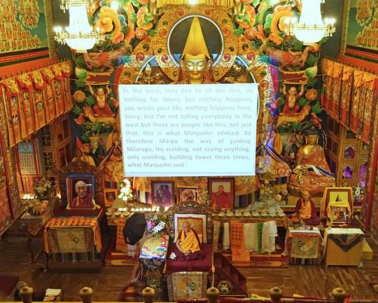 Lama Zopa Rinpoche teaching at Kopan Monastery, Nepal, November 2015. Photo by Ven. Roger Kunsang.
