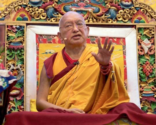 Lama Zopa Rinpoche teaching at Kopan Monastery, Nepal, November 2015. Photo by Bill Kane.