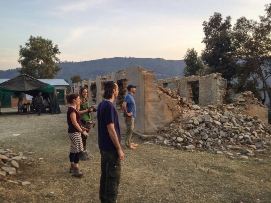 Ösel and other organizers meet on site to discuss plans for Revive Nepal.