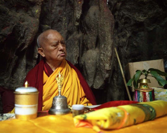 Lama Zopa Rinpoche at Maratika Cave in Nepal, February 2016. Photo by Ven. Lobsang Sherab.