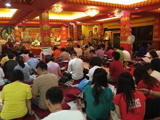 Losang Dragpa Centre's all-night Tara event, Kuala Lumpur, Malaysia, January 2016. Photo courtesy of Gavyn Teh.