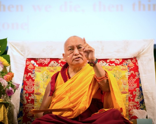 Lama Zopa Rinpoche teaching at the Light of the Path Retreat, North Carolina, US, 2014. Photo by Roy Harvey.