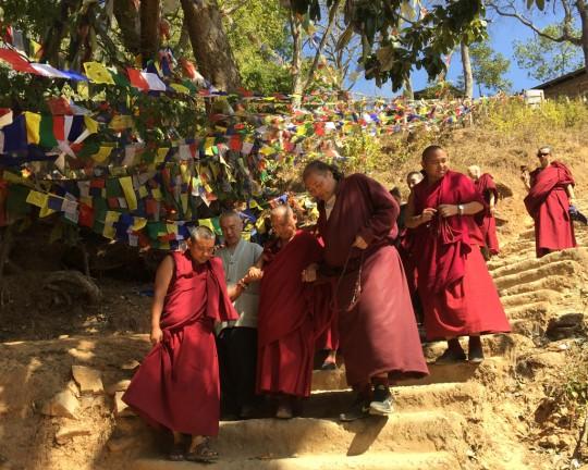 Lama Zopa Rinpoche at Maratika Cave, Nepal, February 2016. Photo by Ven. Lobsang Sherab.