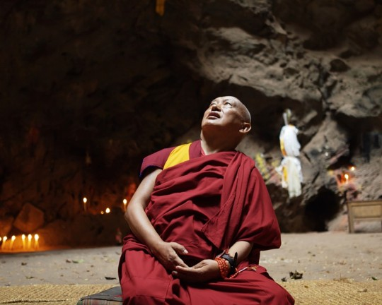 Lama Zopa Rinpoche at Maratika Caves, Nepal, February 2016. Photo by Ven. Lobsang Sherab.