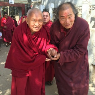Lama Zopa Rinpoche and Osel Dorje Rinpoche at Maratika Caves, Nepal, February 2016. Photo by Ven. Lobsang Sherab.