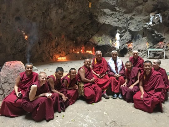 Lama Zopa Rinpoche with Sangha at Maratika Caves, Nepal, February 2016. Photo by Ven. Lobsang Sherab.