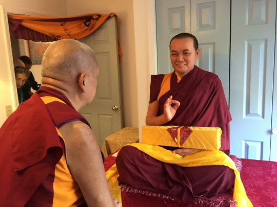 Lama Zopa Rinpoche meets the new statue of Lama Yeshe at Vajrapani Insitute, November 2015.