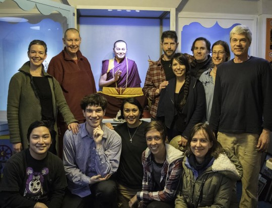 Members of the Vajrapani community with the new statue of Lama Yeshe.