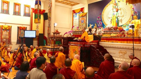 Rinpoche teaching at Amitabha Buddhist Centre